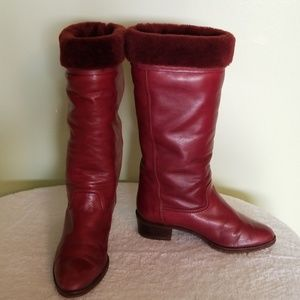 Shoes - Dark plum leather boots. Almost like new.